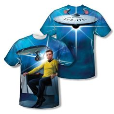 Star-Trek-Captain-Kirk-Ship-Chair-2-Sided-Sublimation-Print-Poly-Shirt-S-3XL