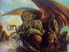 """It's well known that the great Cthulhu has a particular bond with artists of all sorts. In H.P. Lovecraft's """"The Call of Cthulhu"""" it's docu. Necronomicon Lovecraft, Lovecraft Cthulhu, Hp Lovecraft, Cthulhu Art, Call Of Cthulhu, Lovecraftian Horror, Weird Creatures, Monster Art, Weird World"""