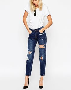 ASOS Original Mom Jeans in Dark Wash with Rips