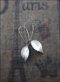 Silver Leaf Earrings  #fall #nature #leaf #leaves