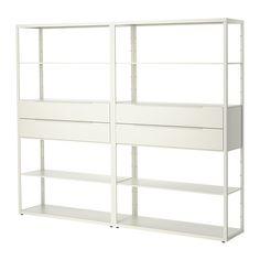 FJÄLKINGE Shelving unit with drawers, white white 92 7/8x76
