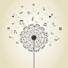 Music dandelion. Inspiration for tattoo