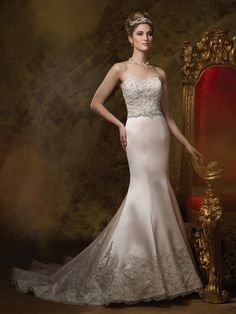 James Clifford Collection - J21462 - Wedding Dresses 2014 Collection – Strapless lace . The Berger Collection for Mon Cheri tiara style 9618 in Gold sold separately. Also available in Silver.Sizes: 2 – 20, 18W – 26WColors: Light Gold, Ivory, White