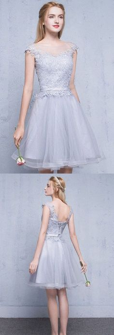 Lace Homecoming Dress with Lace Up,Simple Homecoming Dress,Short Prom