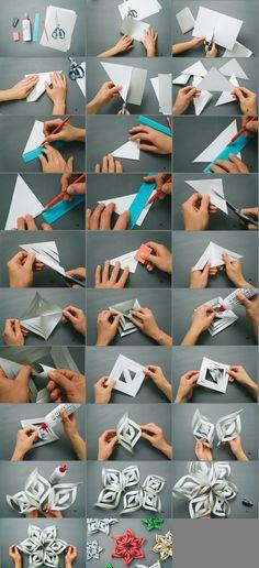 DIY 3D paper snowflakes                                                                                                                                                                                 Más                                                                                                                                                                                 Más