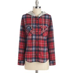 ModCloth Menswear Inspired Mid-length Long Sleeve Hoodie Start of... ($11) ❤ liked on Polyvore featuring tops, hoodies, sweaters, apparel, long sleeve woven, red, woven top, hooded sweatshirt, long sleeve tops and button hoodie
