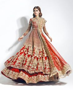 Love this red gold bridal lehenga with long sleeves in Laccha style from Pakistan. Click on image to see price. #Frugal2Fab