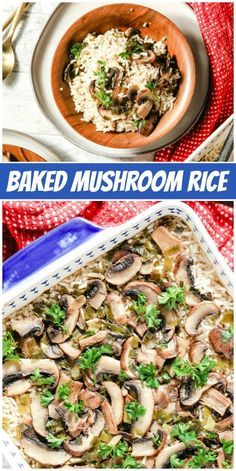 Baked Mushroom Rice recipe from RecipeGirl.com #baked #mushroom #rice #recipe #RecipeGirl Easy Holiday Recipes, Fun Easy Recipes, Healthy Dinner Recipes, Vegetarian Recipes, Easy Meals, Healthy Food, Christmas Recipes, Vegan Kitchen, Kitchen Recipes