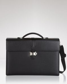 Montblanc Westside Double Gusset Black Leather Strap Briefcase New #Montblanc #BriefcaseAttache
