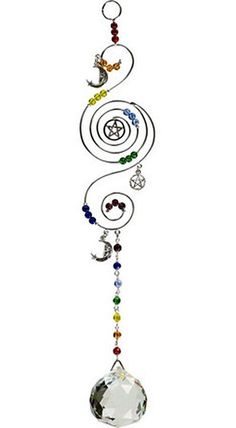 """12"""" Pentacle Spiral Crescent Moon Rainbow Beaded Crystal Sun Catcher Wicca Witch"""