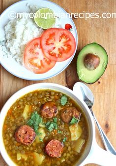Sopa de Lentejas or Colombian Style Lentil Soup is a standard in a lot of Colombian kitchens, the Colombian chorizo sausage gives the soup extra flavor. Colombian Dishes, My Colombian Recipes, Colombian Cuisine, Colombian Lentils Recipe, Comida Latina, Columbian Recipes, Lentil Soup Recipes, Lentil Meals, Vegetarian Recipes