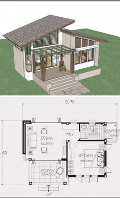 Small home design plan 9x6.6m with one bedroom - Home Design with Plansearch Sims House Plans, Modern House Plans, Small House Plans, House Floor Plans, One Bedroom House Plans, Small House Design, Modern House Design, House Layouts, Home Fashion