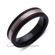 Engagement Bands Black and Red Brushed Tungsten Ring - Gray Tungsten Wedding Band - - Mens Ring - Tungsten Carbide - Engagement Band - Comfort Fit Tungsten Carbide Wedding Bands, Tungsten Mens Rings, Blue Wedding Rings, Wedding Ring Bands, Wedding Jewelry, Promise Rings For Guys, Rings For Men, Buy Diamond Ring, Engagement Bands