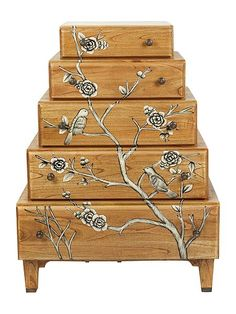 Grey Blossom stacked chest