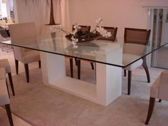 Mesas de vidro simples para sala de jantar