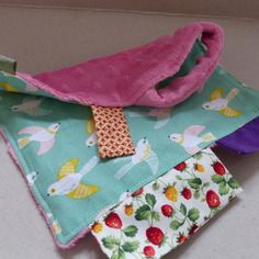 Doudou extra doux rose et coton vert avec oiseaux pastel // So soft softies ! Fée Home A Little Market, Made in Lille