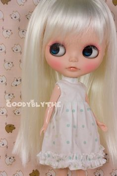 Goodyblythe White with Green Dotted Dress GD47 fit for Blythe / Pullip. $15.00, via Etsy.