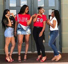 Psi Chapter Sorors of Delta Sigma Theta Sorority, Inc. Delta Sigma Theta Apparel, Sorority Graduation, Sorority Pictures, Sorority Outfits, Sorority Girls, Red Chucks, Grad Pics, Senior Pics, Hot Topic Clothes