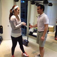 Filipina Actress Shaina Magdayao trains on Technogym's KINESIS at the Life Science Wellness.