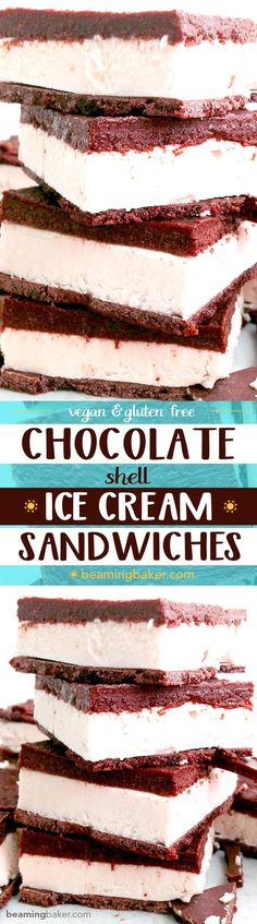 Chocolate Shell Vegan Ice Cream Sandwiches: A chocolate shell twist on a classic frozen dessert. A thick layer of raw cashew ice cream sandwiched between two layers of homemade chocolate shell. BeamingBaker.com #Vegan #GlutenFree