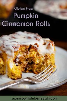 This easy homemade pumpkin cinnamon rolls recipe features the lovely flavors of pumpkin spice, and includes a great cream cheese frosting recipe! These are gluten free cinnamon rolls, perfect for a gluten free diet and celiac disease. This easy recipe allows you to make dough thte day before for easy morning prep. Tap to see more recipes and cooking inspiration from Mountain Berry Eats | Gluten Free Recipes and Living Gluten Free Cinnamon Rolls, Pumpkin Cinnamon Rolls, Gluten Free Pastry, Gluten Free Baking, Gluten Free Recipes For Breakfast, Free Breakfast, Brunch Recipes, Yummy Recipes, Vegan Recipes