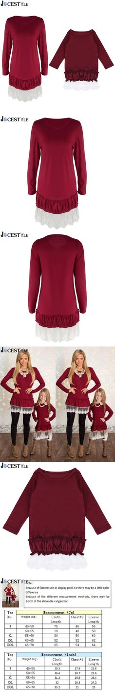JOCESTYLE Mommy and Me Fashion Dresses mother daughter dresses Lace Patchwork Red Solid long sleeves Family Matching Clothes