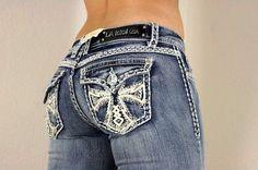L.A. Idol Women's Jeans (Ladies Pre-owned Capri Cross with White Leather & Jewels Jean Pants, LA Idol Designer Jeans)