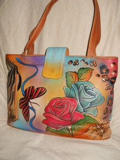 ANUSCHKA HAND PAINTED LEATHER 'ROSE SAFARI' TOTE SHOULDER BAG HAS DEFECT : (   eBay