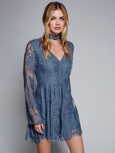 Megan Williams || FP Free People Reign Over Me Lace Dress (Slate)