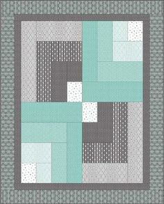 Steppmuster modern easy grey 59 Ideen - My Quilt Ideas Log Cabin Quilts, Lap Quilts, Mini Quilts, Log Cabins, Modern Quilt Patterns, Quilt Block Patterns, Quilt Blocks, Easy Baby Quilt Patterns, Simple Quilt Pattern