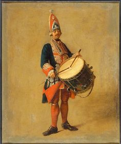 Drummer of the regiment of the Gardes-Françaises of the King's residence (Military costume of the epoch of Louis XV)