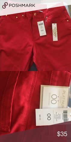 Chico's Platinum red boyfriend Jean 00 New with tags. Never worn. Red Boyfriend Jean equal to about size 6. Chico's Jeans Boyfriend