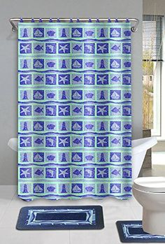 Beach Dolphin Blue 15Piece Bathroom Accessory Set 2 Bath Mats Shower Curtain  12 Fabric Covered Rings