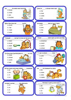 Present simple and Routine Speaking Cards worksheet - Free ESL printable worksheets made by teachers English Verbs, Kids English, English Reading, English Tips, English Lessons, English Vocabulary, Learn English, English Worksheets For Kids, English Activities