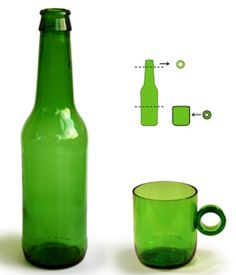 Canecas feitas com partes de uma garrafa de vidro, que iria para o lixo! Grande ideia! #reciclar #sustentabilidade #malwee