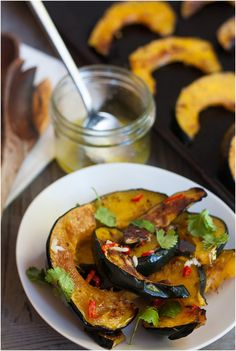 Roasted Acorn Squash with Chile and Garlic.