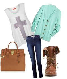jeans. white shirt with cross. cardigan. brown shoe