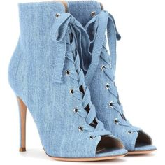 Gianvito Rossi Marie Denim Peep-Toe Ankle Boots (€930) ❤ liked on Polyvore featuring shoes, boots, ankle booties, heels, blue, short heel boots, heeled booties, denim boots, blue booties and ankle boots