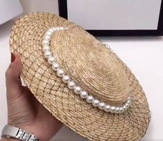 94111193 Hat Wide Brim Pearl Vintage Women Wedding Straw Beret Fascinator Sun Hat  Elegant #VFSVintagehats #WideBrim #WeddingRaceParty