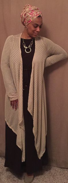 Women's Cardigan, khaki, long cardigan, knit cardigan, draped cardigan, modest, modest clothing, cadigans for women, by Siri2Siri on Etsy https://www.etsy.com/listing/271659926/womens-cardigan-khaki-long-cardigan-knit