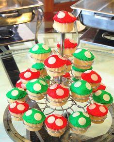 Mario Mushroom Cupcakes by mycupofthea for a kids birthday Super Mario Party, Super Mario Birthday, Mario Birthday Party, Birthday Parties, Super Mario Cupcakes, 8th Birthday, Birthday Ideas, Mario E Luigi, Mario Kart
