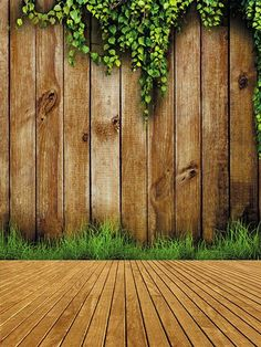 Kate Wood Wall Photography Backdrops,Wood Wall Green Plants Photography Backdrop For Photographers,No Wrinkle Seamless Collapsible Photo Studio Backgrounds