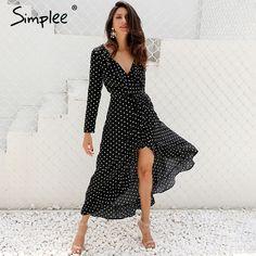 $38.92 - Awesome Simplee Autumn long sleeve polka dot ruffle wrap dress Women sexy v neck split maxi dress vestidos Summer beach black long dress - Buy it Now!