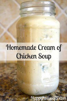 Homemade Cream of Chicken Soup 2.5 cups chicken broth 1.5 cups milk 3/4 cup flour Seasoning Mix: 1/2 teaspoon of onion powder, 1/2 teaspoon garlic powder, 1/2 teaspoon black pepper, 1 teaspoon salt, and 1/2 teaspoon of parsley.