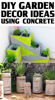 DIY Garden Decor Ideas Using Concrete DIY Garden Decor Ideas Using ConcreteGardens are naturally very beautiful. None of that credit goes to us. But what we can take credit for, Beton Diy, Metal Yard Art, Cement Planters, Concrete Garden, Diy Garden Decor, Garden Decorations, Garden Ideas, Belleza Natural, Garden Paths