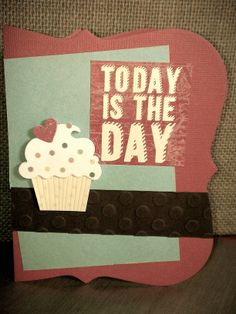 Lifestyle Crafts die card base, Sizzix embossing folder, DCWV phrase sticker and Recollections 3D cupcake sticker.