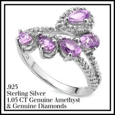 1.05ctw Amethyst & Genuine Diamonds Solid .925 Sterling Silver Ring…