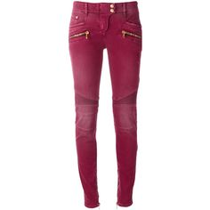 Balmain stretch biker jeans (£1,060) ❤ liked on Polyvore featuring jeans, red, biker jeans, purple jeans, super stretch skinny jeans, zipper pocket jeans and stretchy skinny jeans