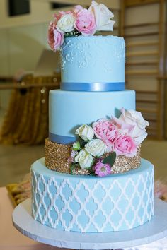 Baby Blue and White Round Wedding Cake with Gold Sequins and White and Pink Flowers Tampa Wedding Cake The Artistic Whisk | Tampa Wedding Photographer Knight Light Imagery
