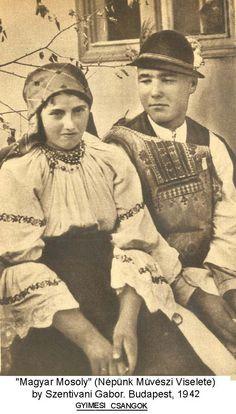 """hungarian girl and boy 1942 traditional hungarian csángó costume, """"tsango"""" costume csángó magyarok, ma Románia Csango Gyimes"""